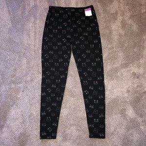 Other - Girls black leggings with white and pink cats.
